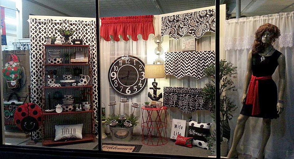 Front Window Display- Black, White, and Red