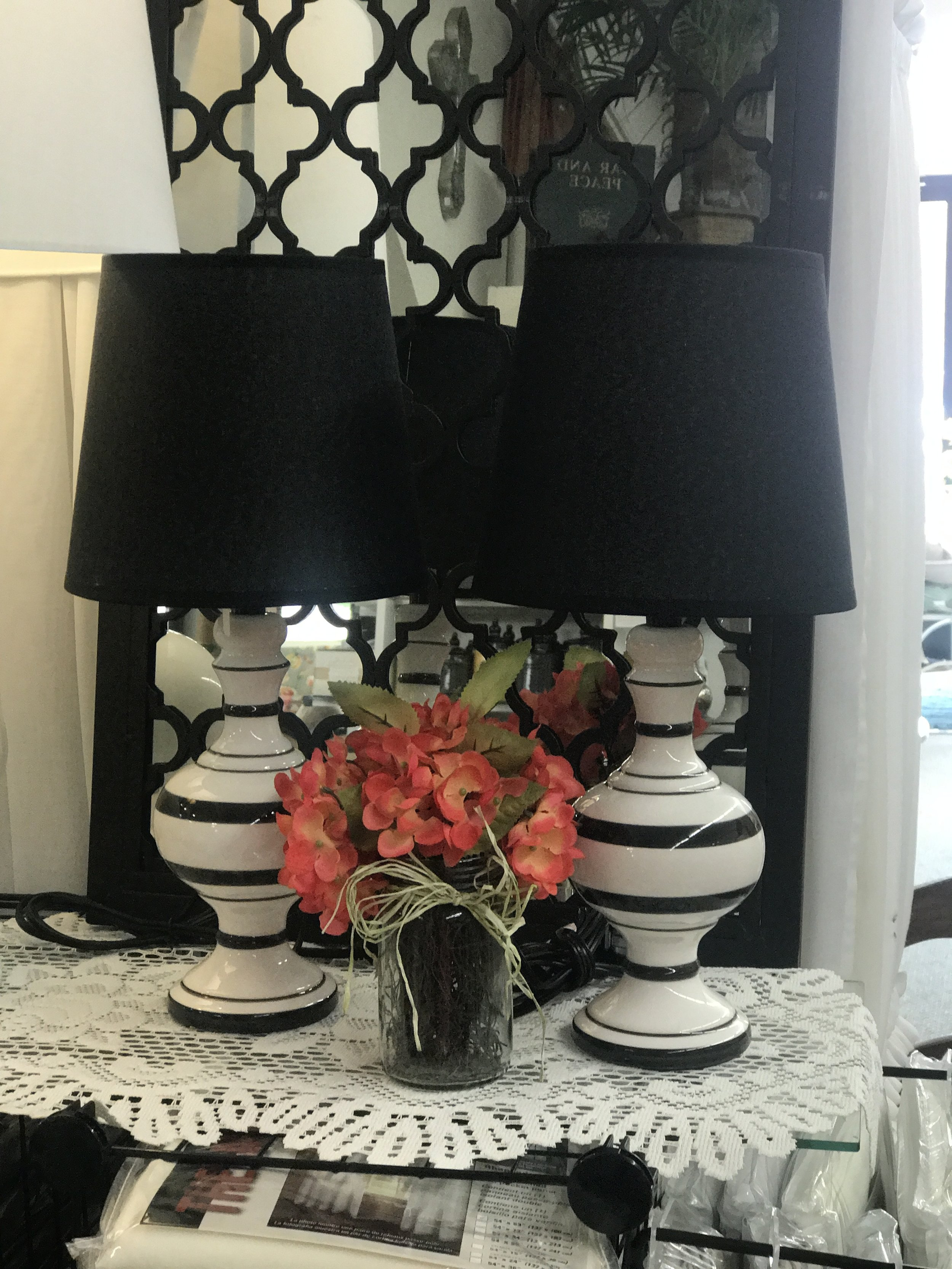 Small Black and White Stripe Lamps