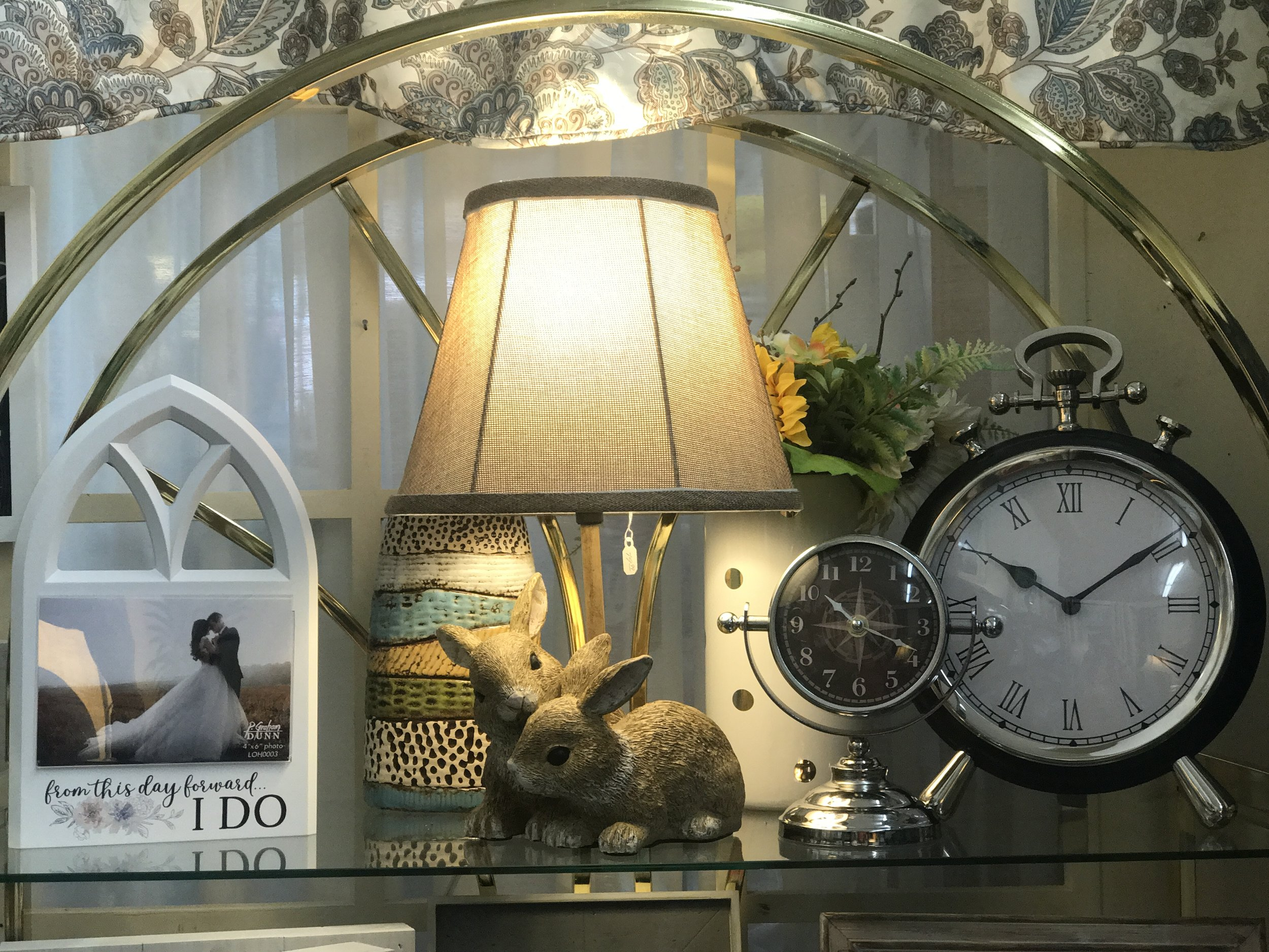 Bunny Lamp and Assorted Clocks