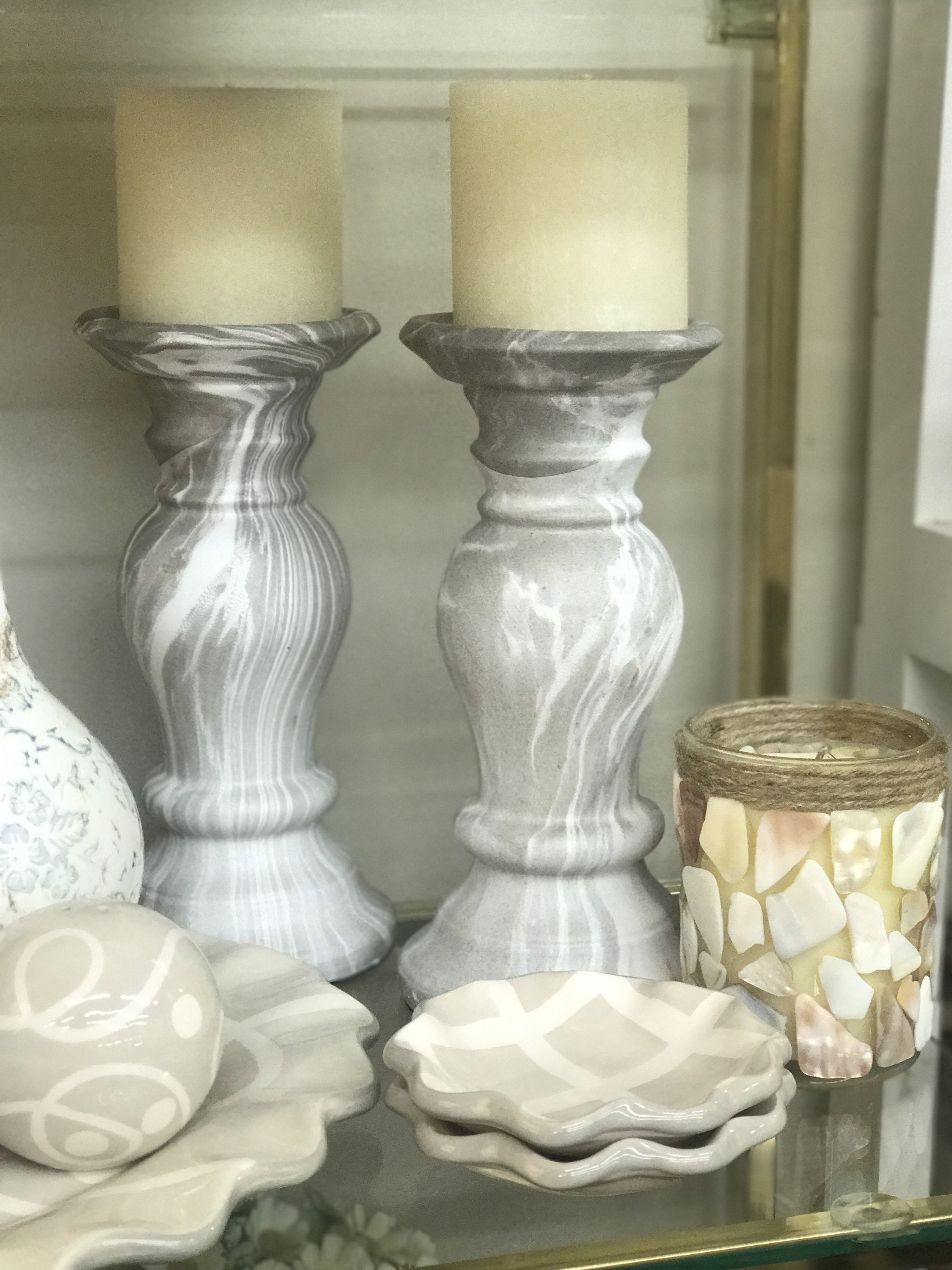 Grey and White Candle Sticks