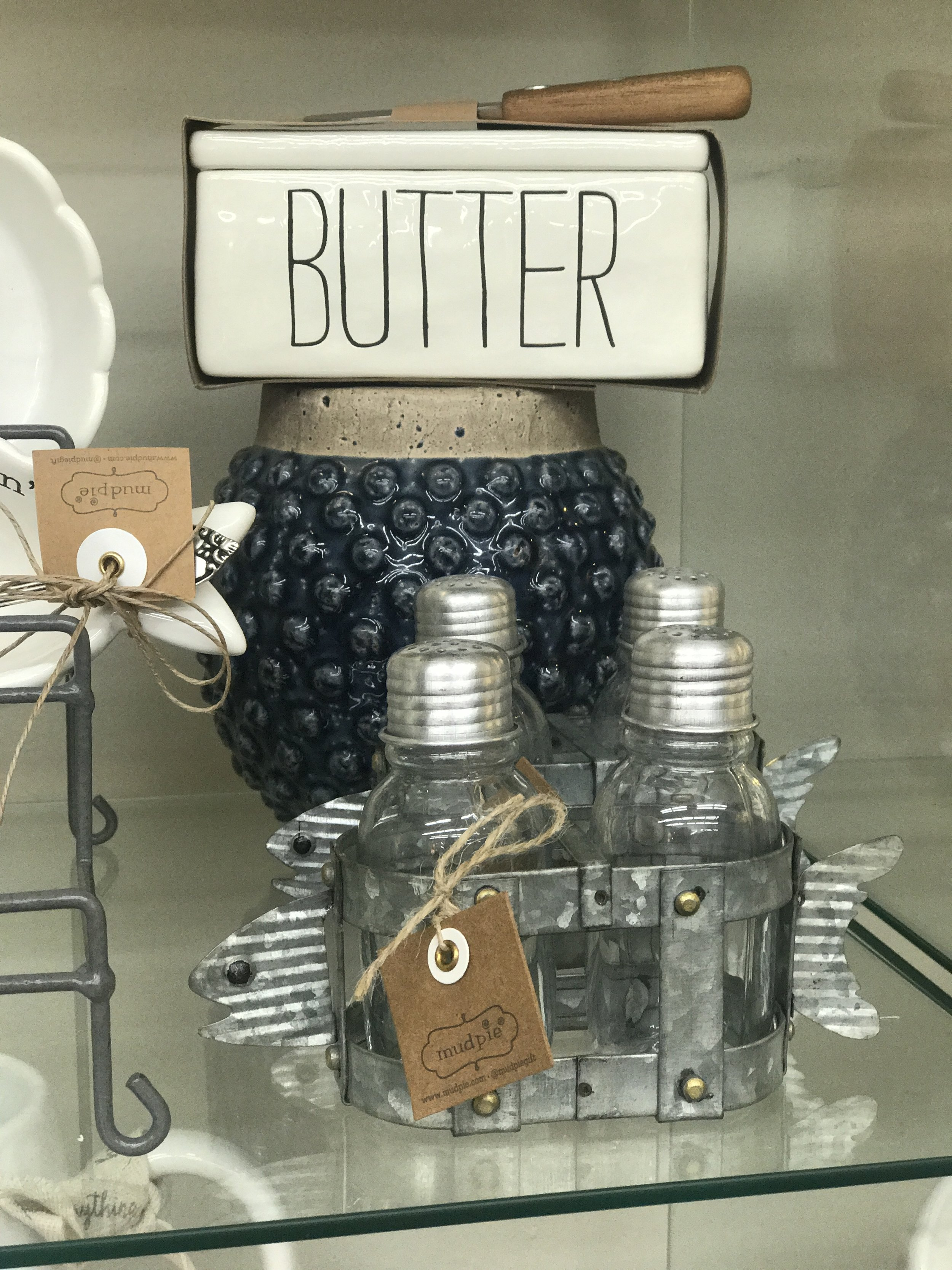 Mudpie Butter Dish, Salt and Pepper Shakers and Blue Vase