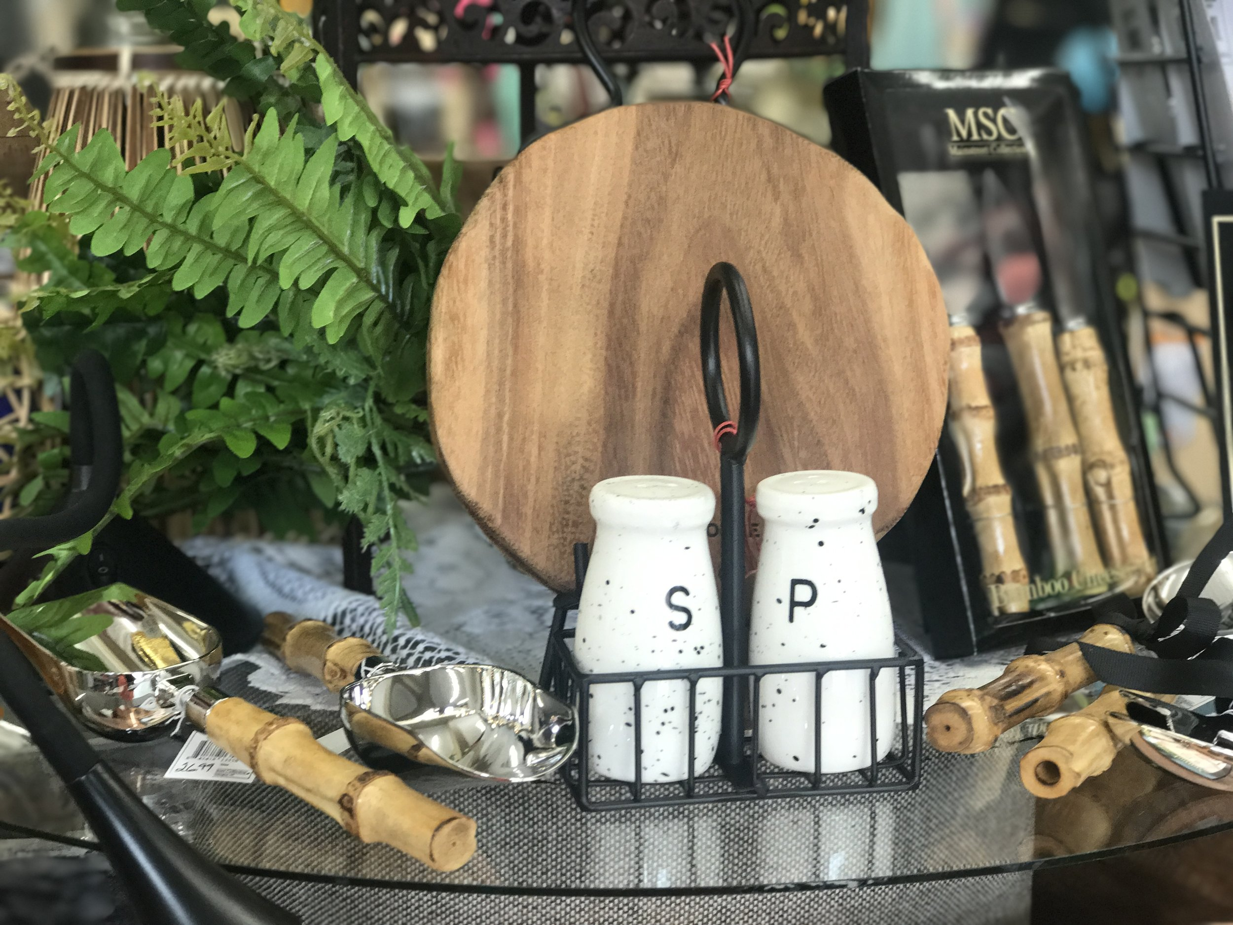 Wooden Trivet and Salt and Pepper Shakers