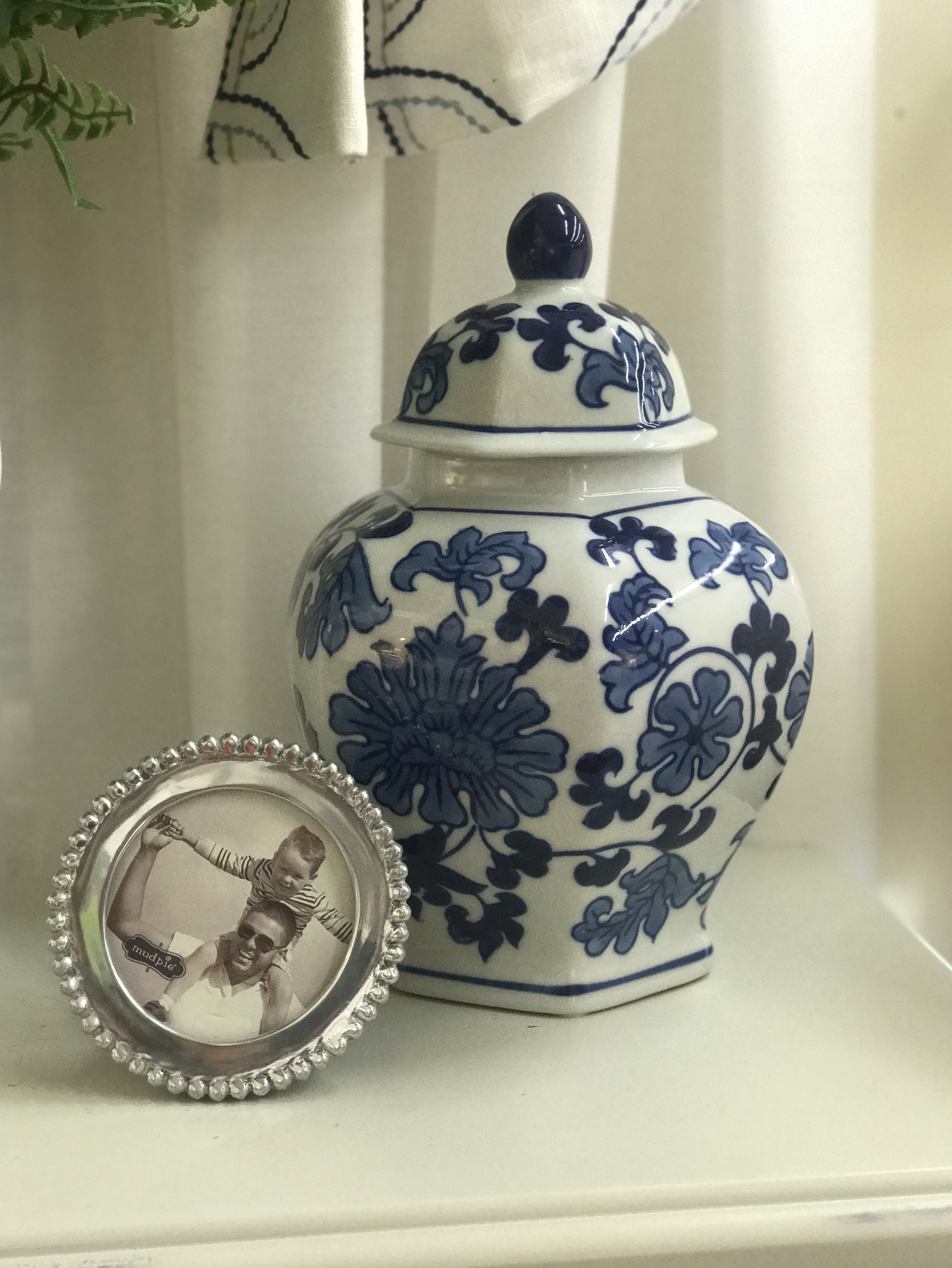 Blue and White Vase with Lid