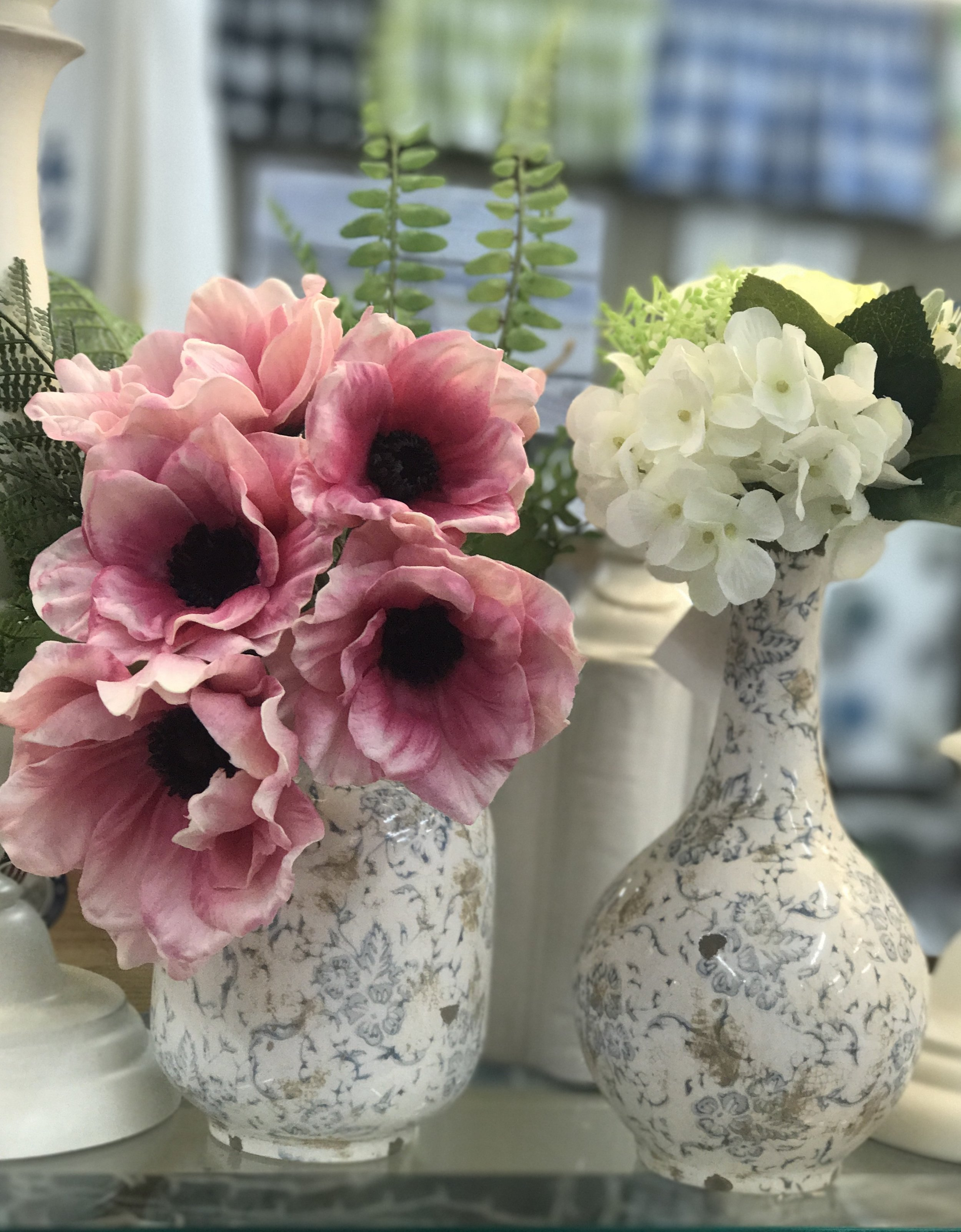 Small Grey and White Vases with Florals