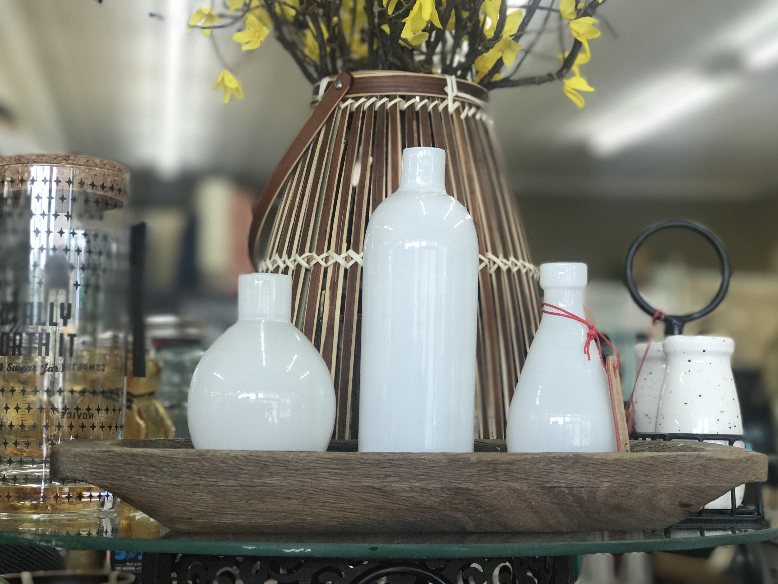 White Vases on Wood Tray