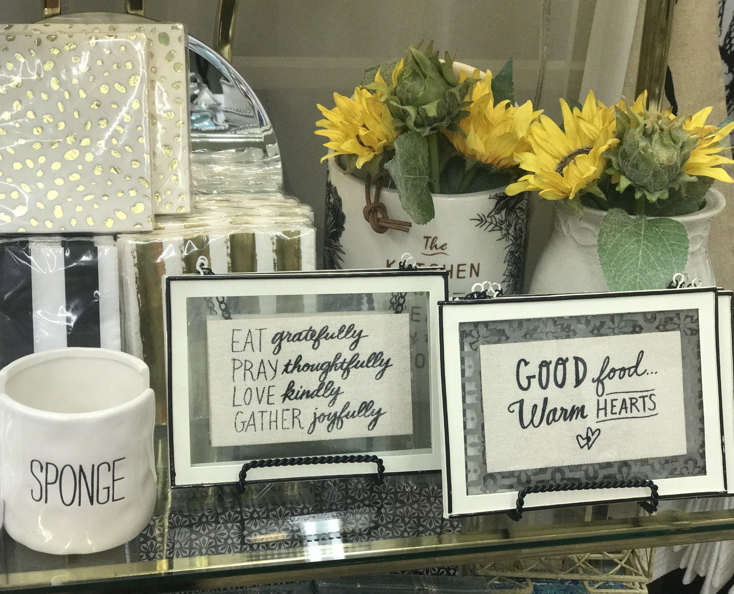 Sponge Holder, Signs and Florals