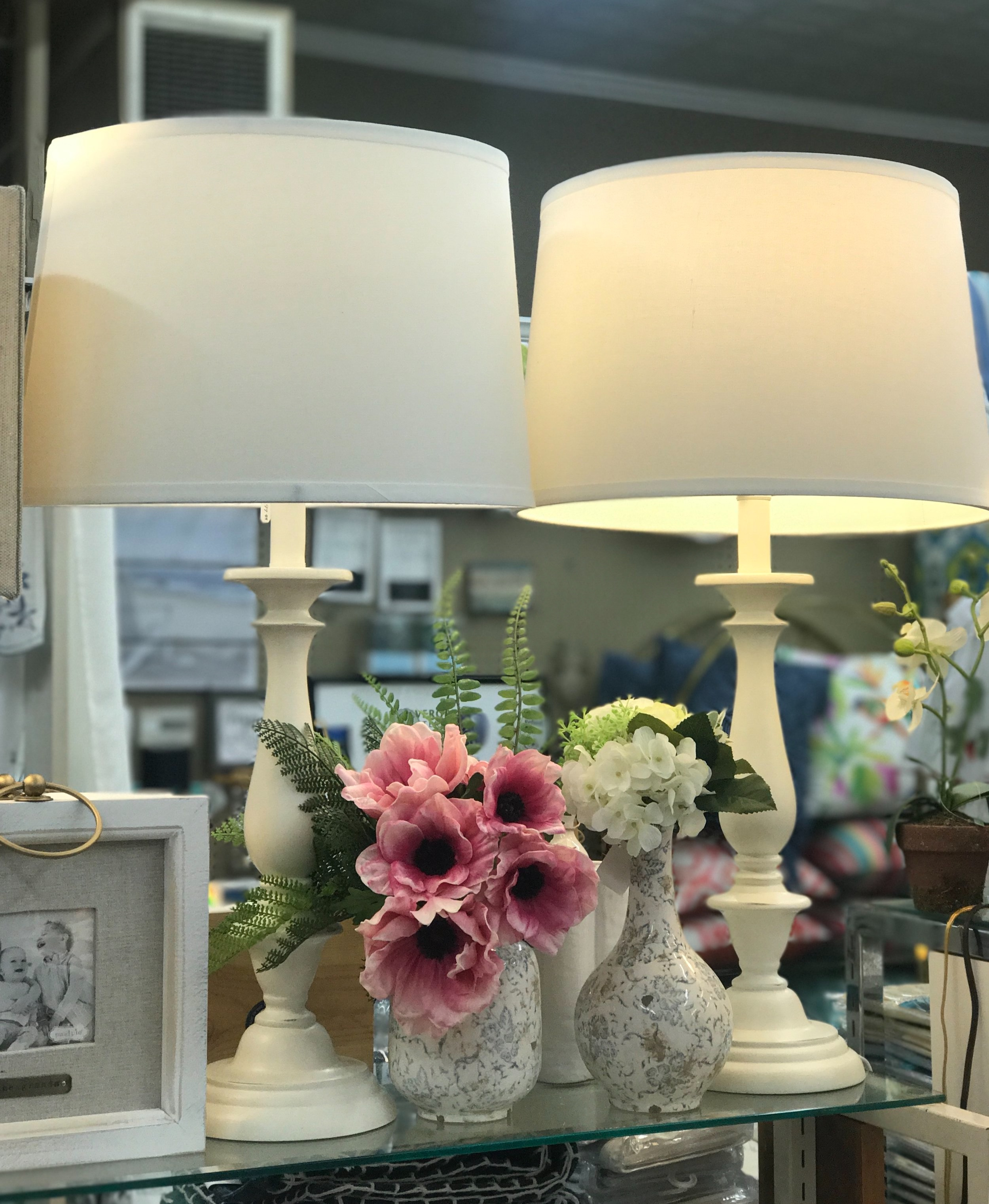 White Lamps and Florals