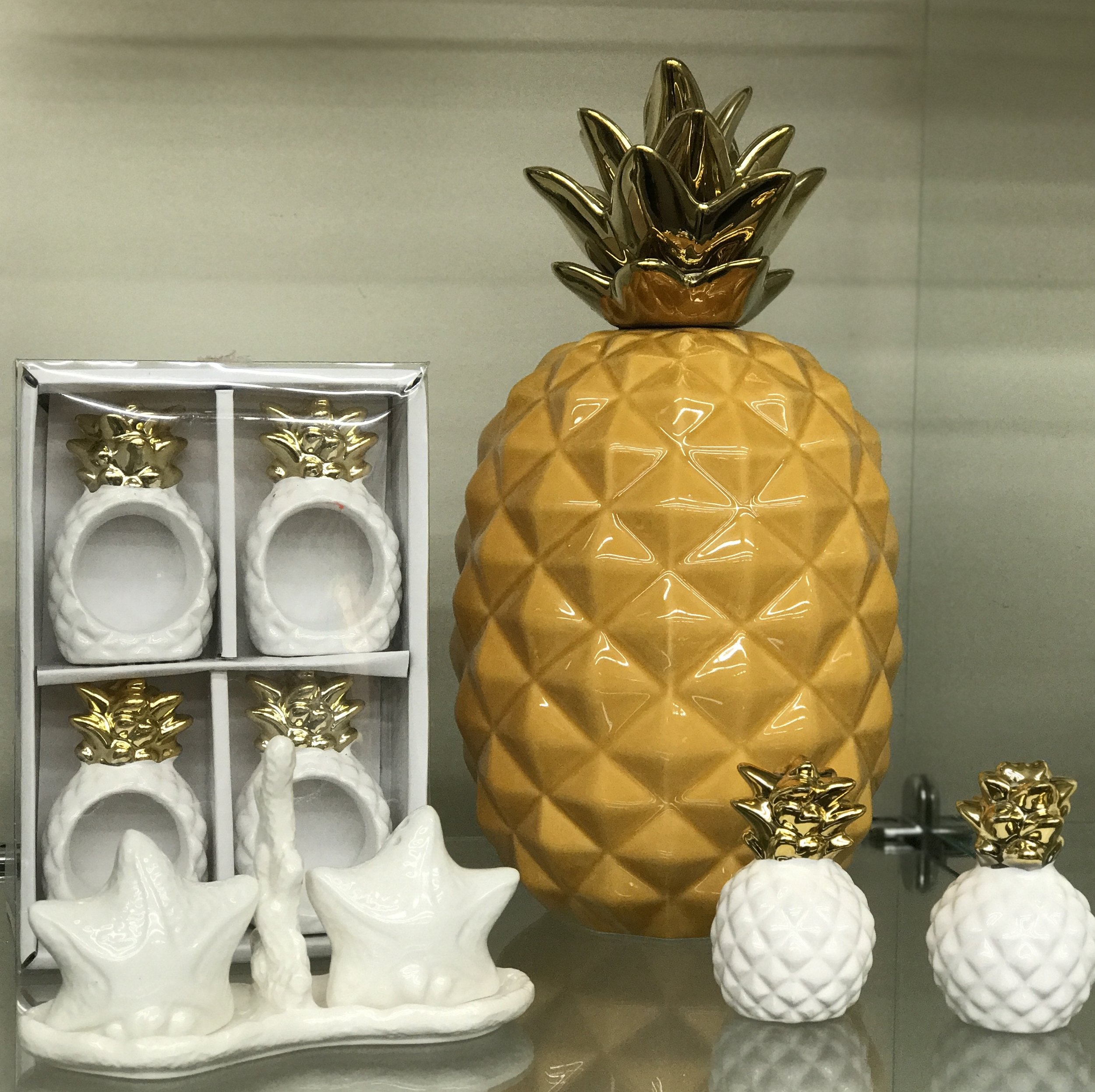 Pineapples - Salt and Pepper Shakers, Napkin Rings and Decorative Pineapple