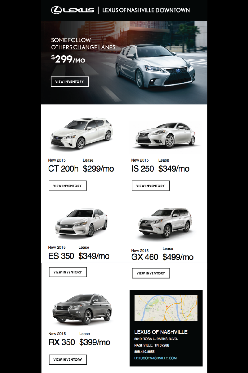 Lexus of Nashville Sales Email Campaign