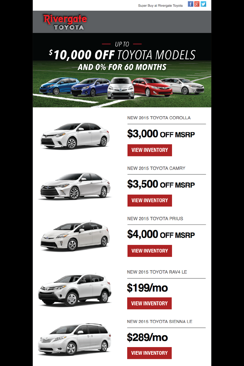 Rivergate Toyota Sales Email Campaign