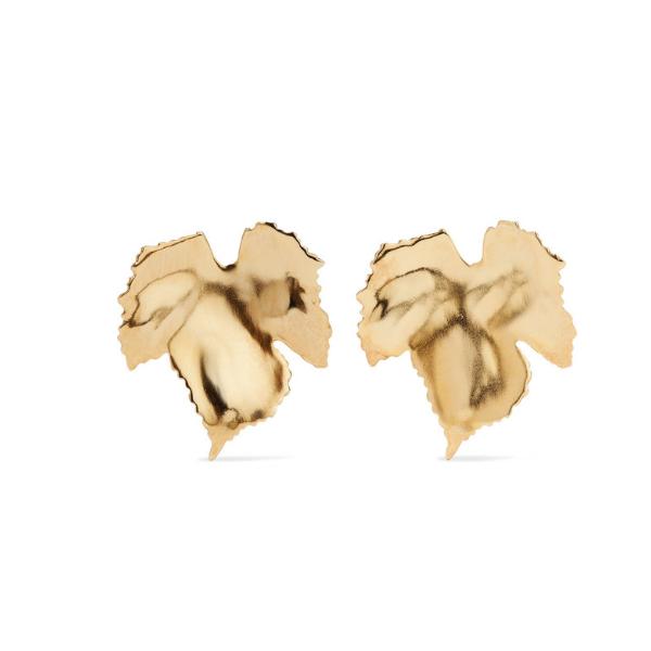 Oscar de la Renta Grape Leaf Earrings.   Net-a-porter