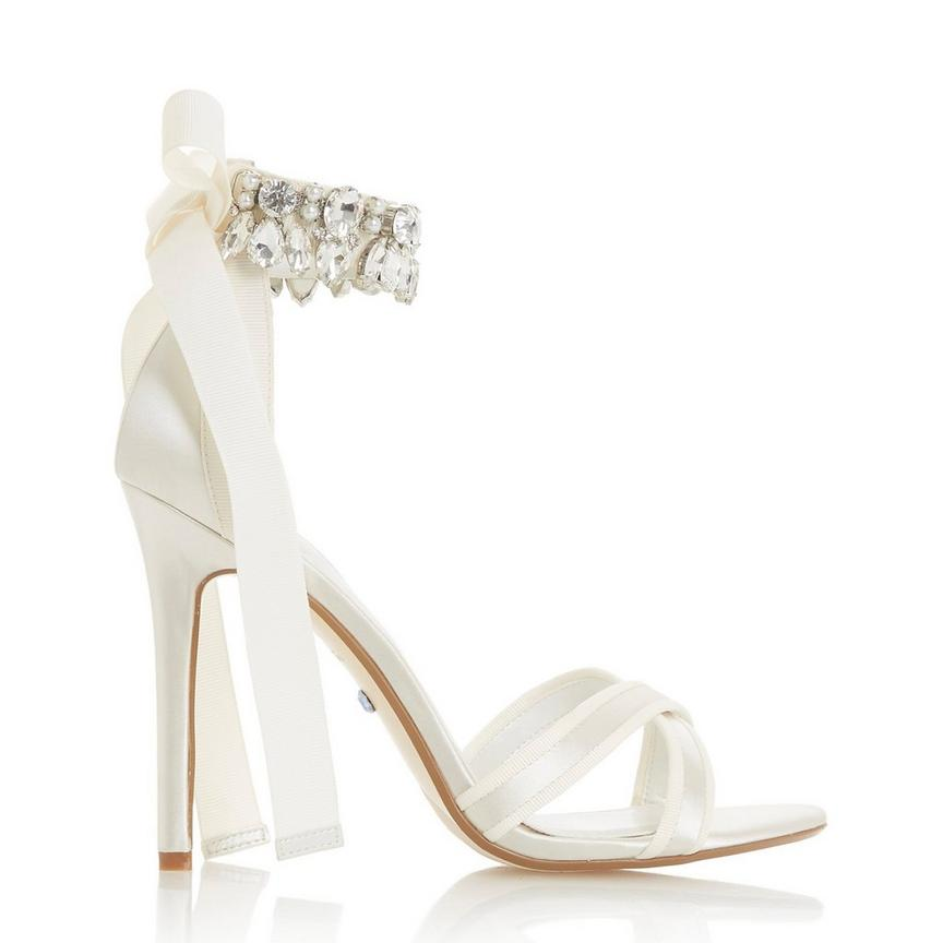 Satin Diamante Ankle Strap Sandal, £150, Dune