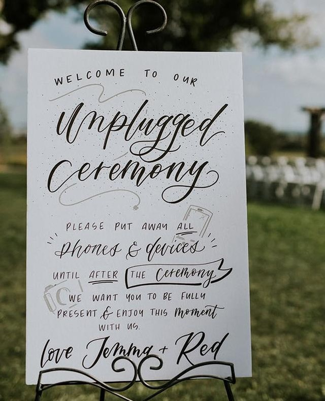 An unplugged wedding is when you ask your family, friends and guest to silence their phones. Personally, we love this idea. This approach allows only the professional photographer to take photos, so you have full control of what it shared via social media. Inform your guests about your wishes for an unplugged ceremony with a beautiful sign.   instawedding #irishwedding #weddingplanning #northernirishwedding #wedding #weddinginspo #weddinginspiration #inspireweddings #weddingdress #bride #groom #inspire #inspireweddingsmagazined #NIbride  #weddinginspo #wedding #weddingparty #weddingireland  #weddingceremony #weddingphotos #unpluggedweddings #weddingreception  #unpluggedwedding #unpluggedweddingsign #unplugged