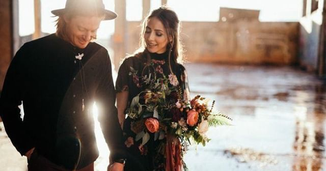 A black wedding dress is a great alternative to traditional white - why not we say?! Look how sleek and stylish this couple look decked-out in head to toe black. Weddings are a celebrating of yourself and your love for one another, so if you're a couple who loves darker shades, then way not parade them down the aisle.⁠ Image by cassierosch.com⁠ ⁠