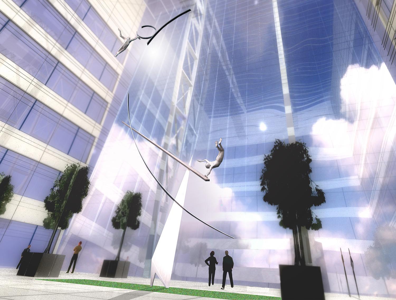 Archimedes' Dream  McGraw Hill Atrium Proposal Canary Wharf, London  24.5 metres high x 9 metres wide  Aluminium. 2002