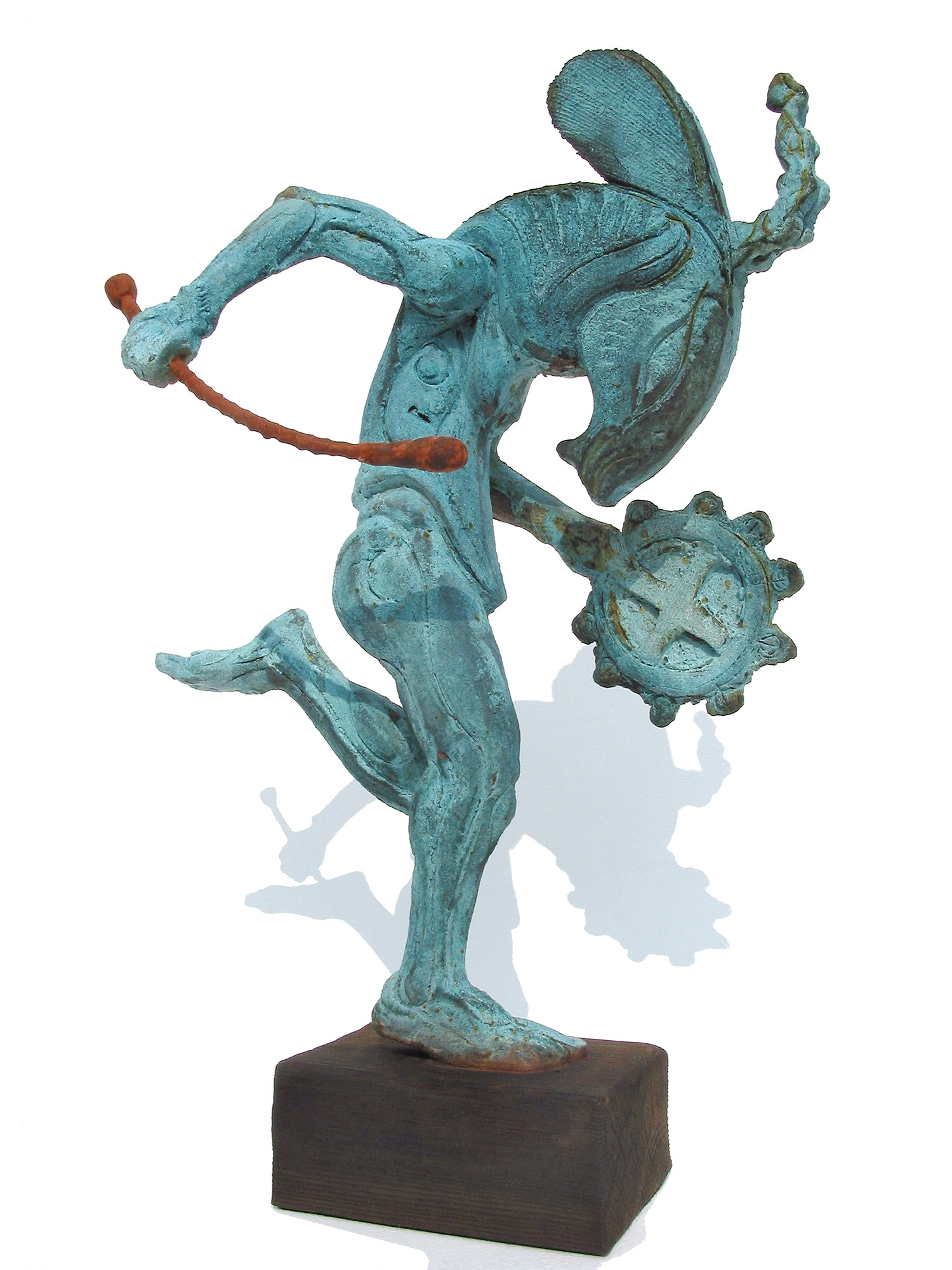 """Satyr with Bodhran  ©  48 cm high x 33 cm wide  Unique  The goat-headed figure being both satanic and pantheistic has been a stubborn subject in art - Picasso made much of it.  """"I wanted an ancient creature with long ears that wasn't a hare or a donkey and an instrument that played the sound of time."""""""