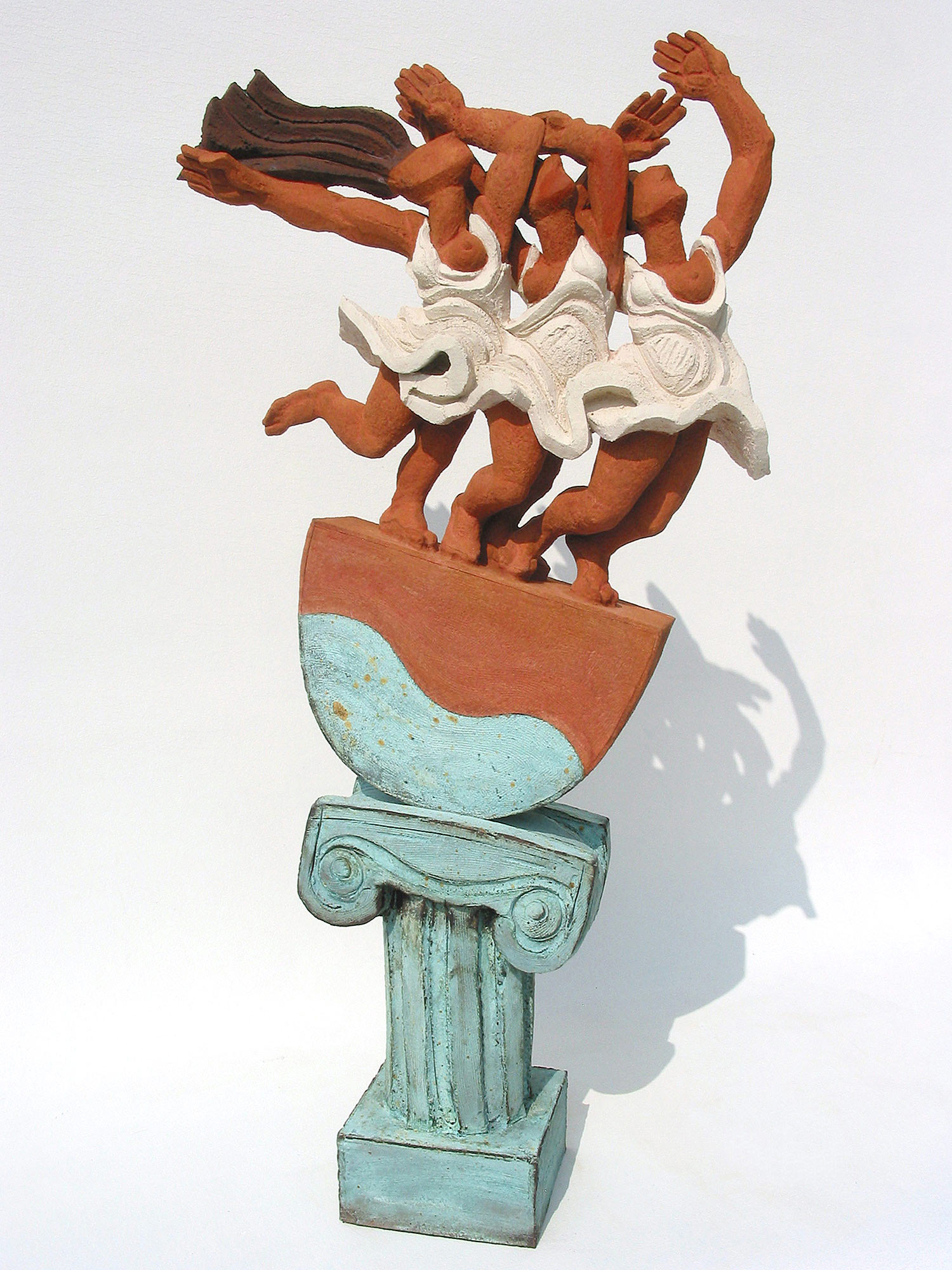 Siren Song  ©  91 cm high x 46 cm wide  Unique  The classical call of temptation in Marilyn Monroe skirts. This piece is bathed in the warm sun of the Mediterranean and references the neoclassical paintings of 'The Bathers' or 'Women Running on the Beach' by Pablo Picasso.