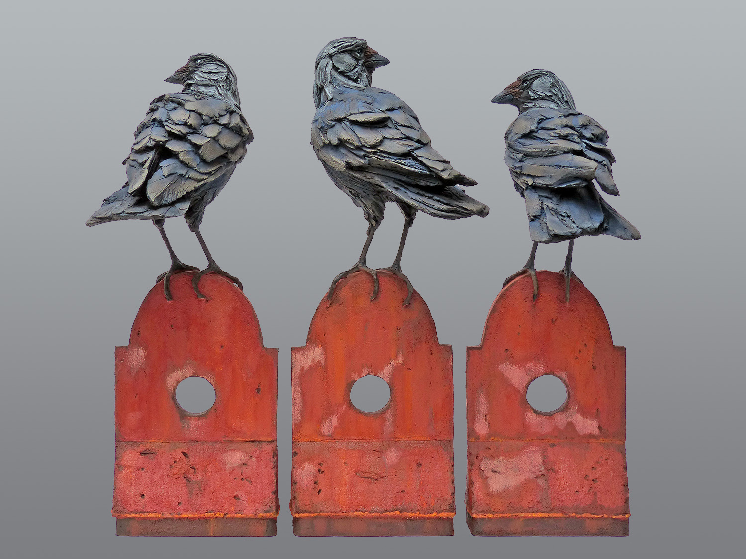 Three Watchers (Jackdaw Group)   ©  59 cm high x 50 cm wide    (single typically 59 cm high x 22 cm wide )  Unique