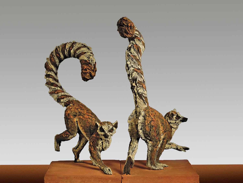 Ring Tailed Lemurs  ©  66 cm high x 38 cm wide  Unique