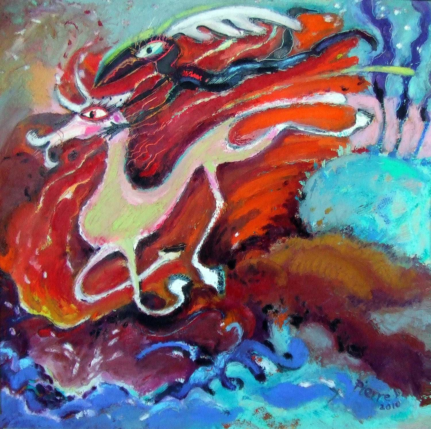 "Fire Horse   ©  Oil and oil pastel on fine paper  38 cm high x 38 cm wide  ""The exaggerated, tangled legginess of this lime-white horse makes it all the more vulnerable in the clutches of the Harpy."""