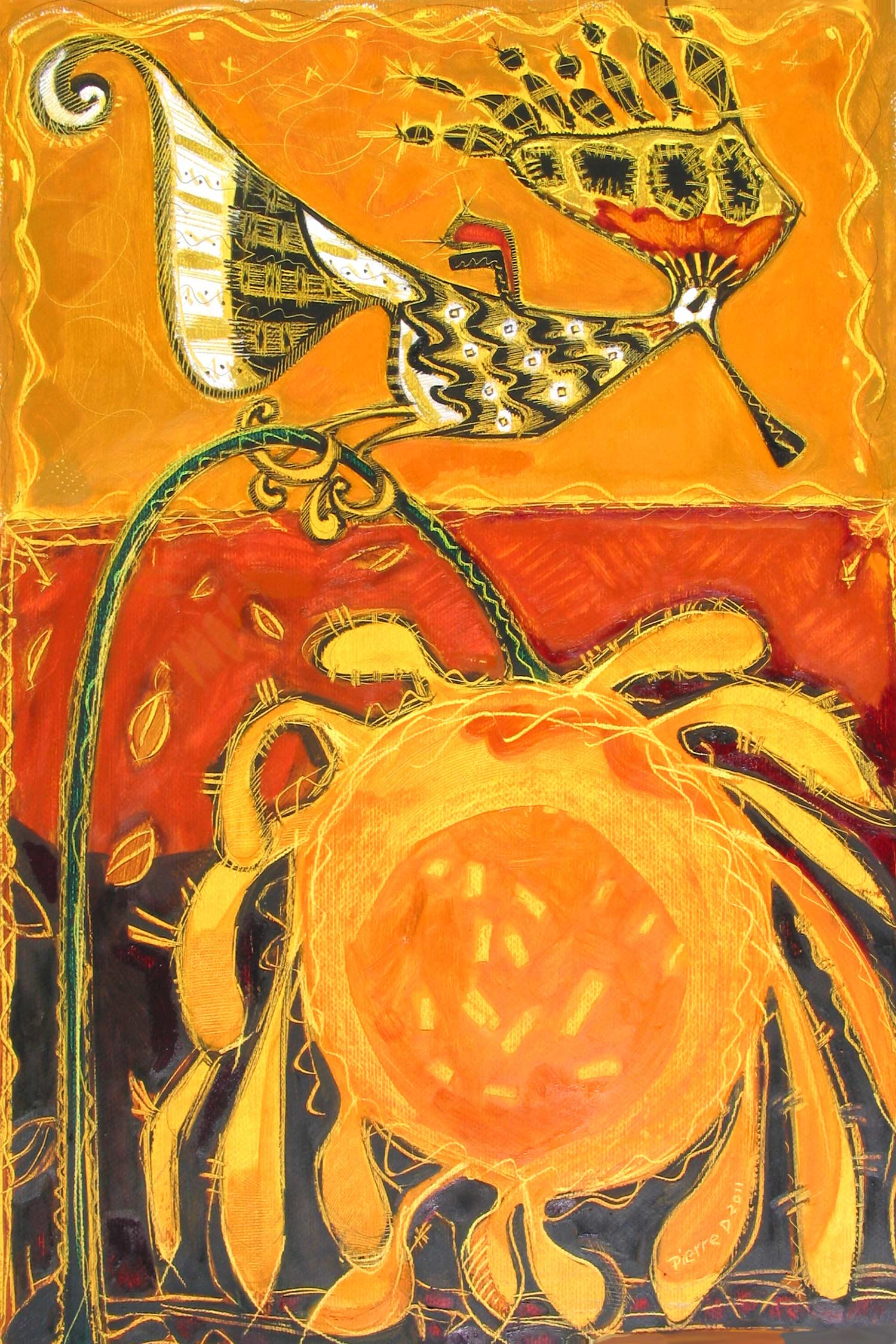 """Hoopie Gold Bird  ©  Oil on fine paper  90 cm high x 61.5 cm wide  """"I couldn't resist this title – apologies to the Hoopoe Bird. This batik-like image turned out to have the striking colours that Nigerian women have on their gowns.  The sunflower is very freely done. The Hoopoe Bird was often depicted on Egyptian tomb walls."""""""