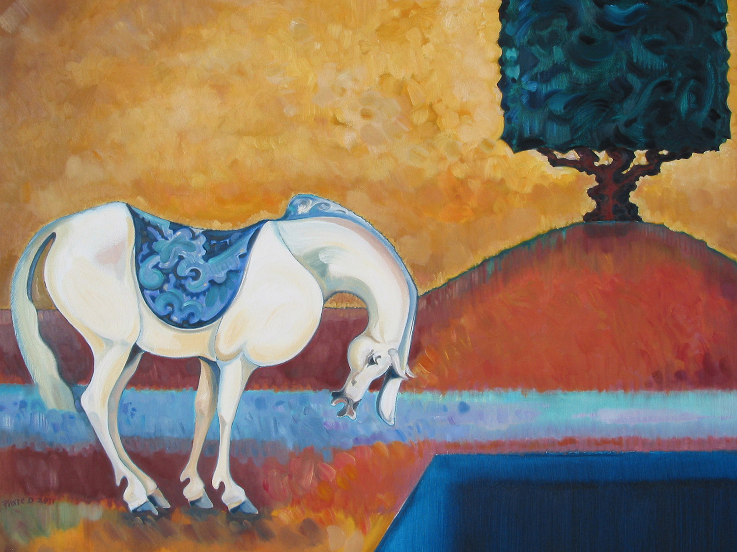 "Persian lll The Yew Tree   ©  Oil on canvas  80 cm high x 100 cm wide  ""I wanted to see if I could find the silence in the earlier ""Walnut Tree"" painting and place it in this painting, together with the fragile, ceramic roundness of the horse""."