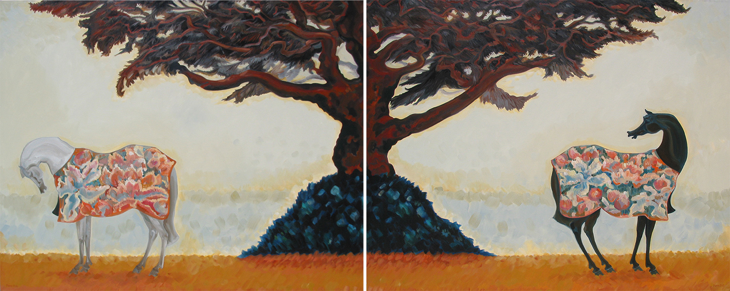 The Temple Tree l & ll (Diptych)   ©  Oil on canvas  120 cm high x 300 cm wide