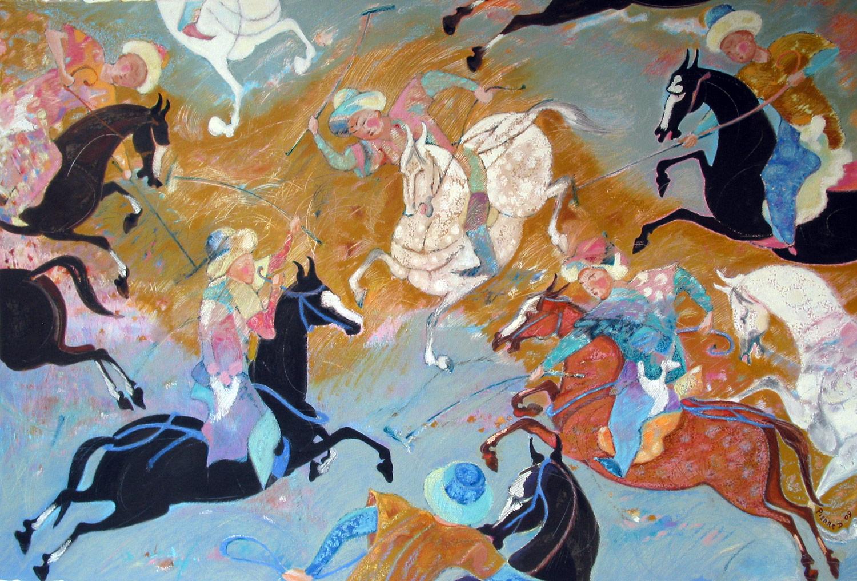 Jeu des Rois  ©  Oil and oil pastel on fine paper  121 cm high x 172 cm wide
