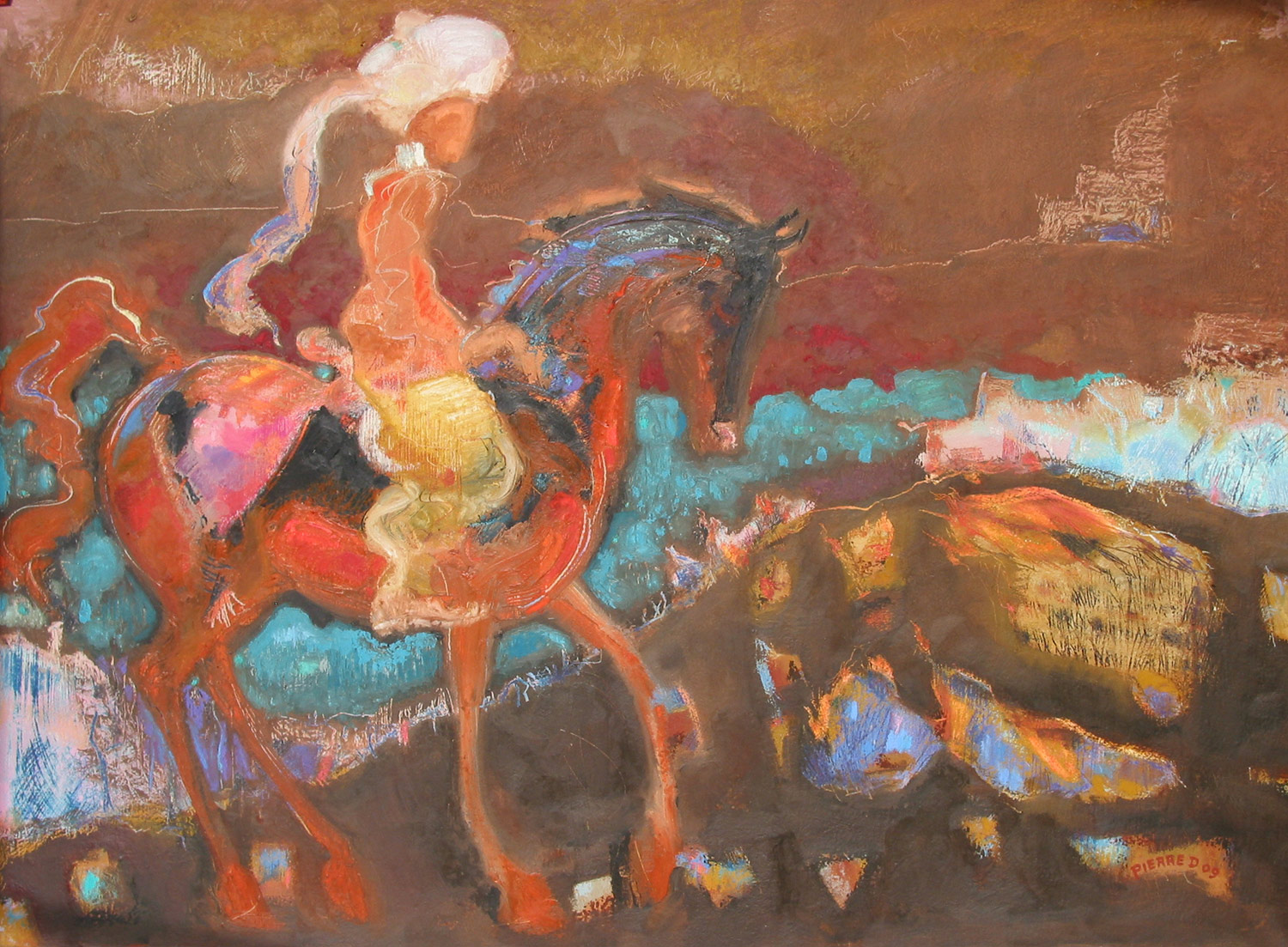 Night on Fire Mountain   ©  Oil and oil pastel on fine paper  74 cm high x 105 cm wide