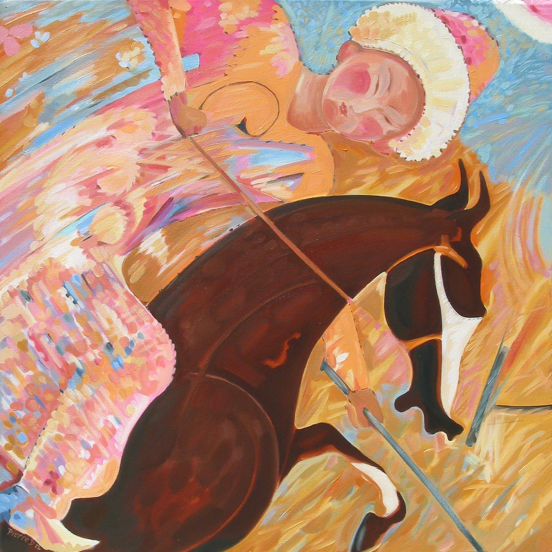 Persian I Jeu des Rois (Top Left) ©  Oil on canvas  76 cm high x 76 cm wide