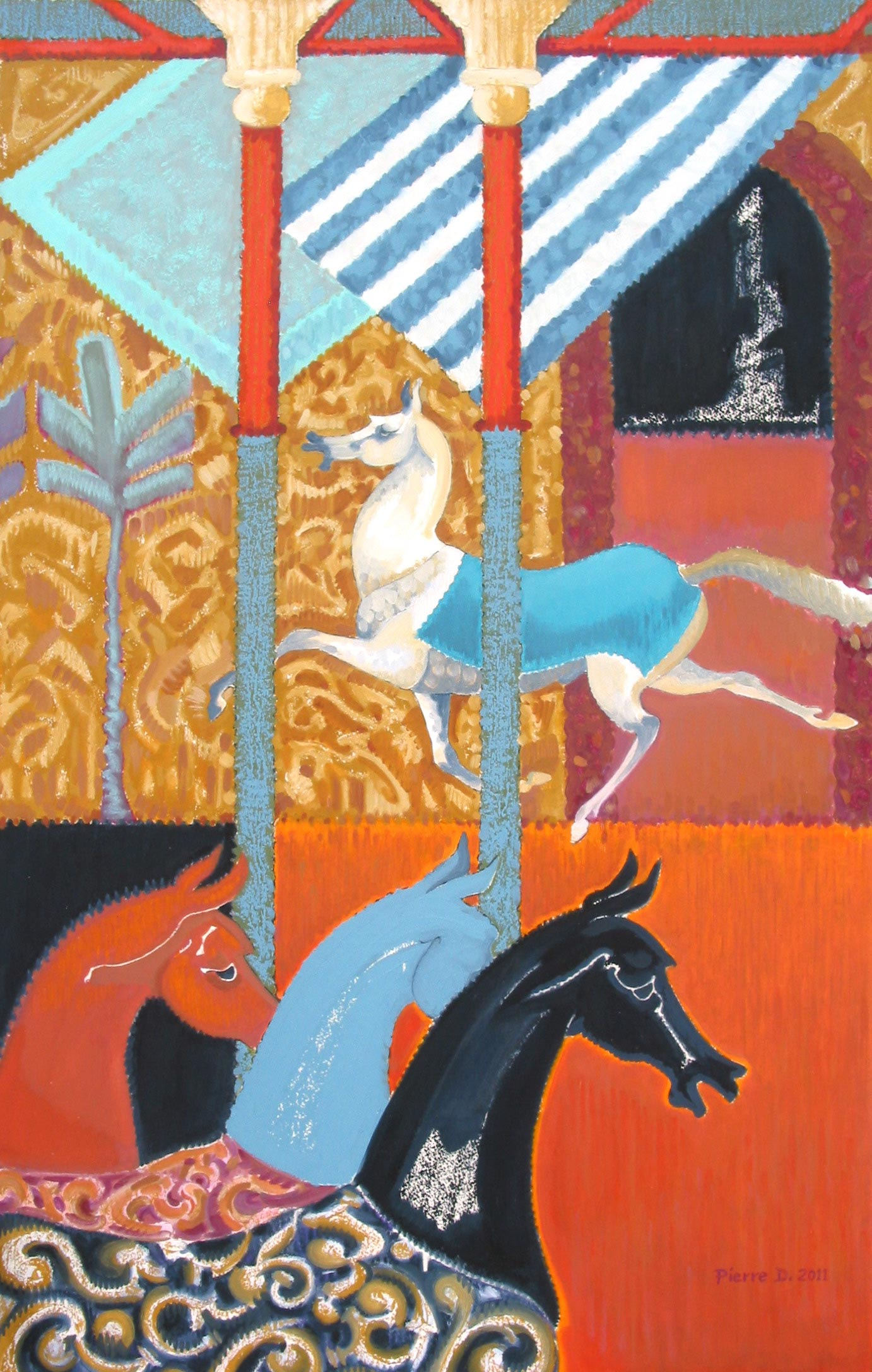 Moghul ll The Turquoise Blanket   ©  Oil on fine paper  96 cm high x 61.5 cm wide  A freer horse against a flat, frieze of richly blanketed horses in the foreground, with stark, striped awnings and a brocade backdrop - the composition is a patchwork of textiles.