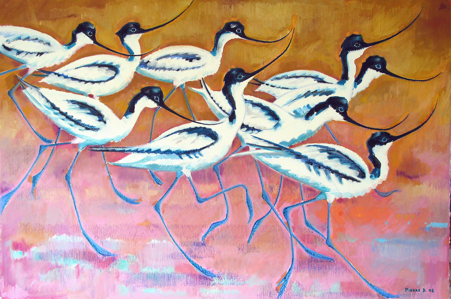 Avocets   ©  Oil and oil pastels on fine paper  80 cm high x 120 cm wide