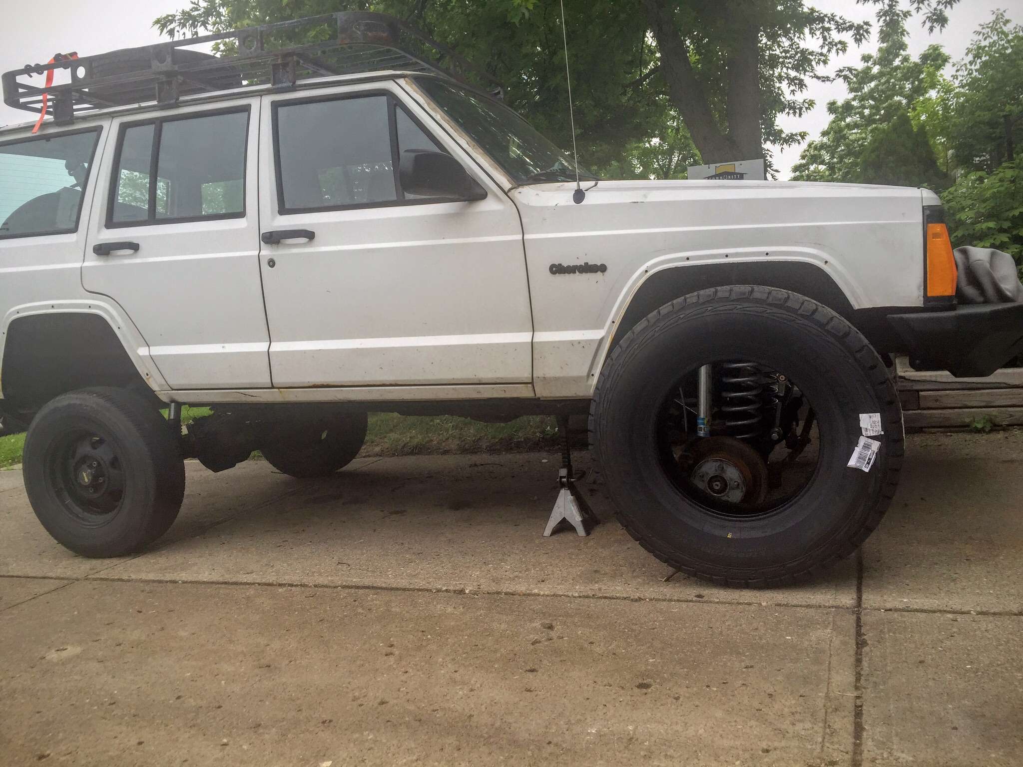 """Had to buy some beefy 33s (32.7"""") to mount on the new wheels. Ended up going with Cooper Discoverer ATPs."""