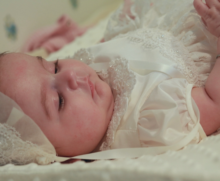 """AnnaLynn"" Couture Christening Gown and Bonnet"