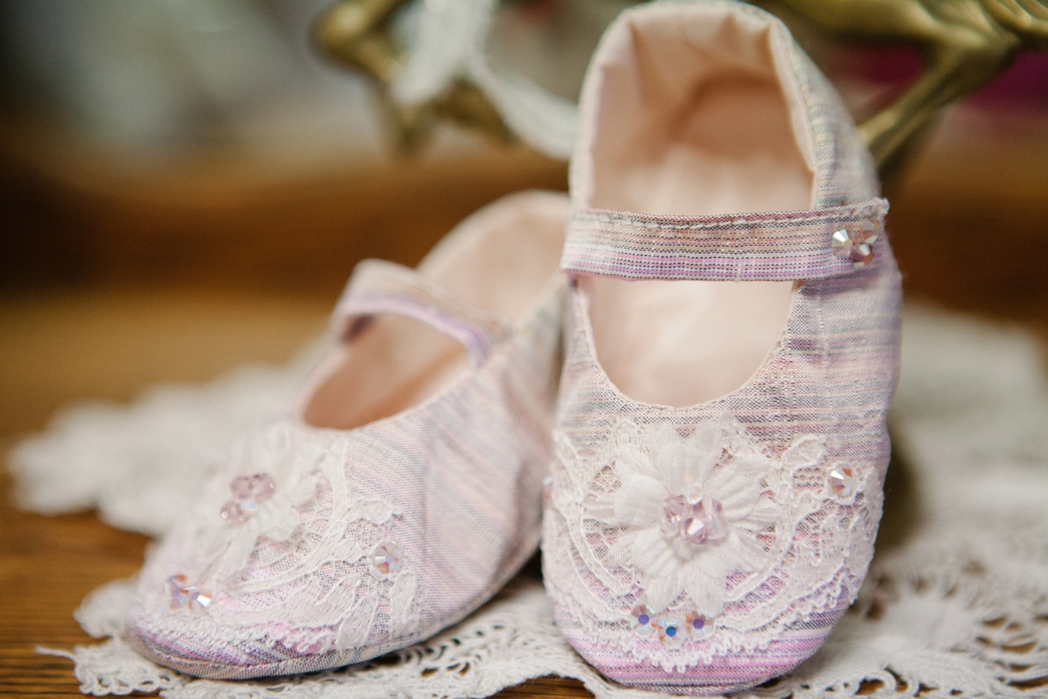 SILK TAFFETA INFANT SHOE
