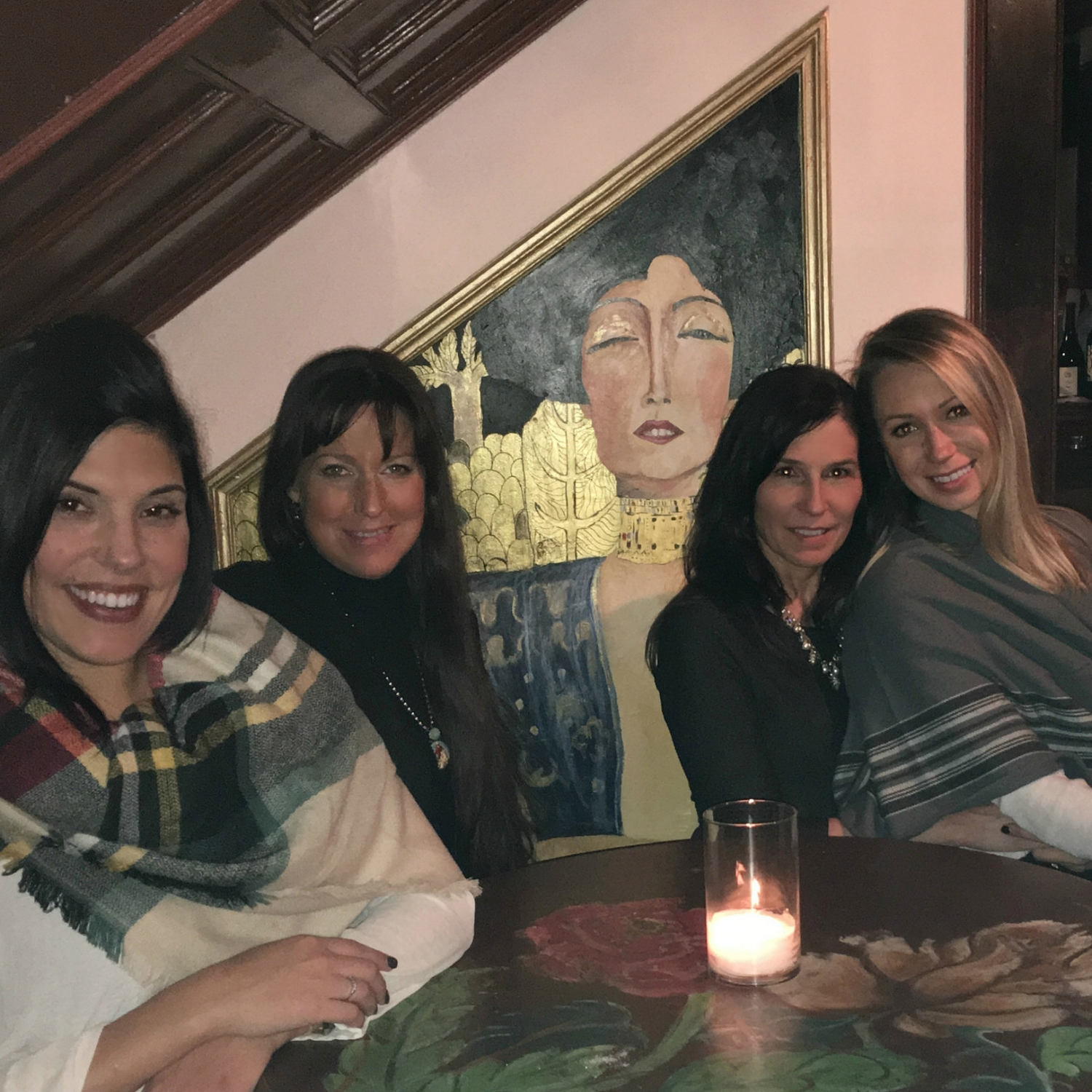 Denise suggested dinner at  Mouzon House . Katie, Denise, me, and the bride-to-be enjoyed dinner, wine, talk, and pics in this quaint house filled with artwork.