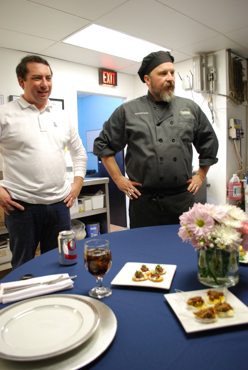 Beginning with passed hors devours, Louis and executive chef, David McCauley, presented their ideas and described the food preparation in detail.