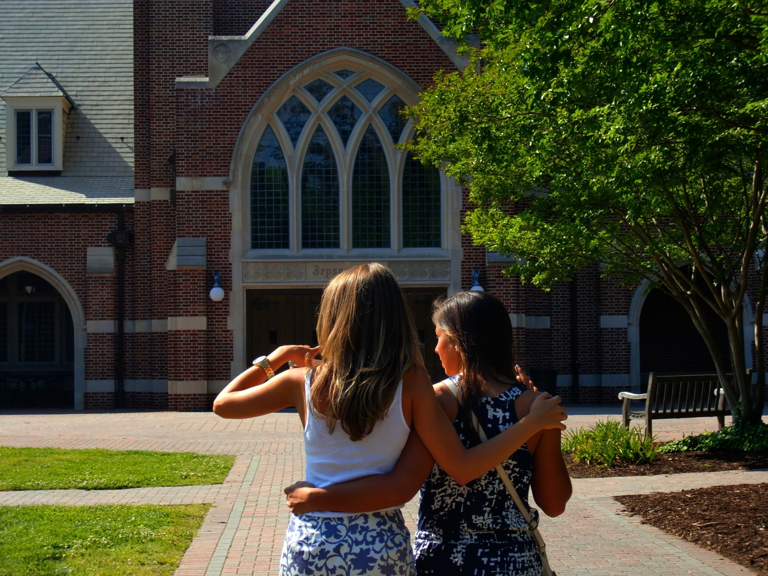 This is one of my favorite pics of Brielle and Aubrey taken on graduation weekend in May of 2011.Brielle took Aubrey around the University of Richmond campus and showed her everything from her own point of view after spending four years on this beautiful campus. Aubrey would begin her studies at the University of Richmond in the fall of 2011 as a student athlete and play for the Richmond Spiders Field Hockey team.