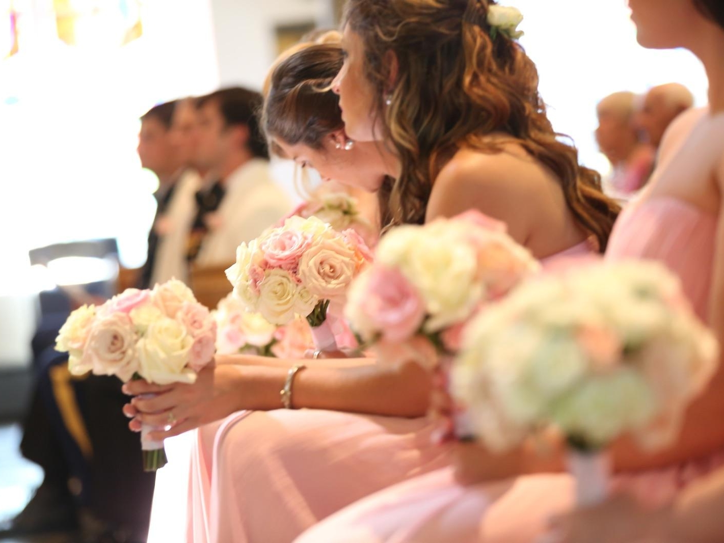 Aubrey's beautiful rose bouquet at Gracie and Mile's wedding.
