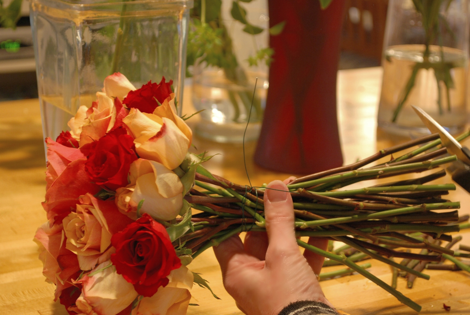 Step four: Wrap the stems with floral tape and trim the ends.
