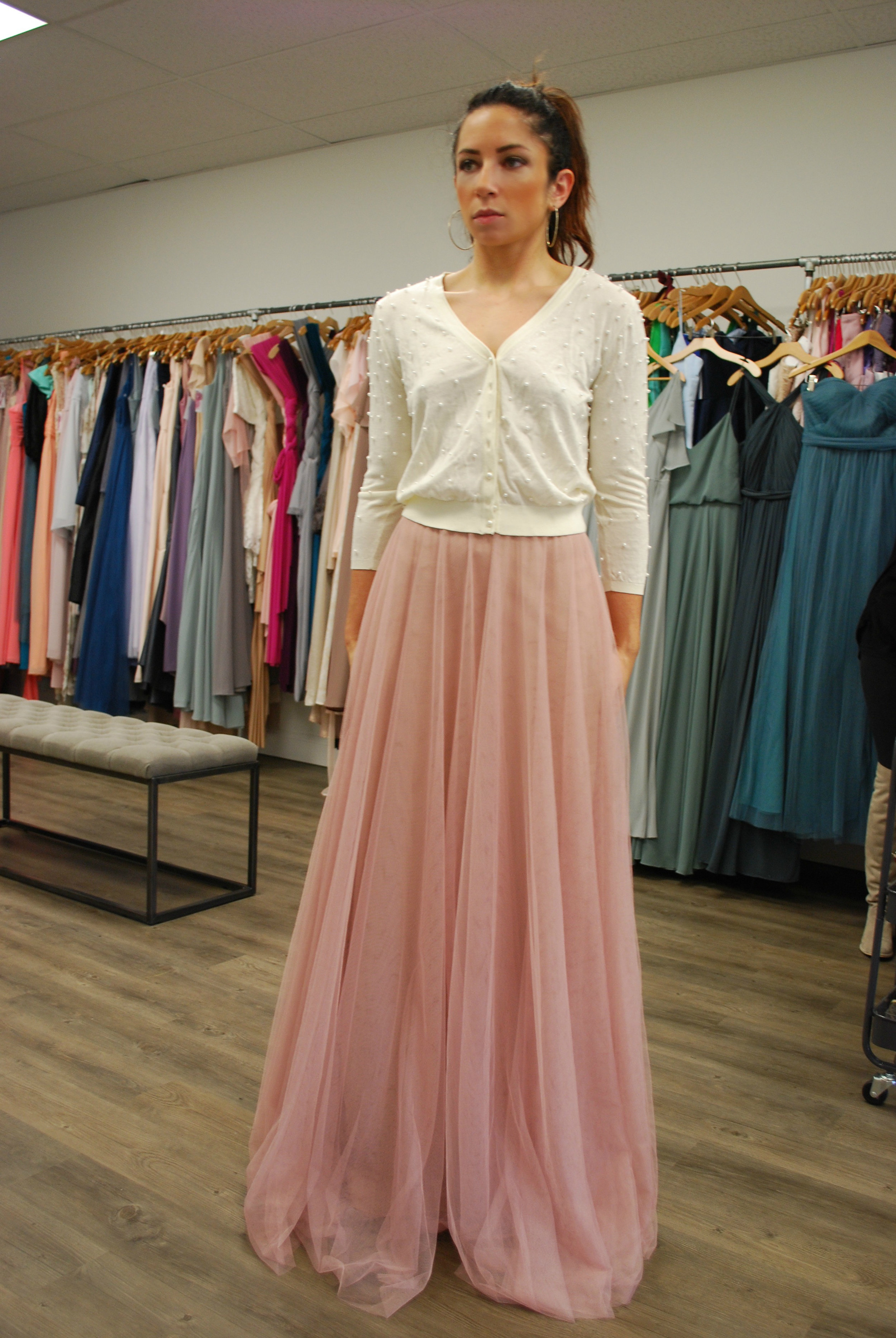 I love the idea of separates for bridesmaids. I could see this skirt with a wrap blouse or a lace crop top. I am considering separates for my own dress design for the wedding, but I will save that for another blog post.