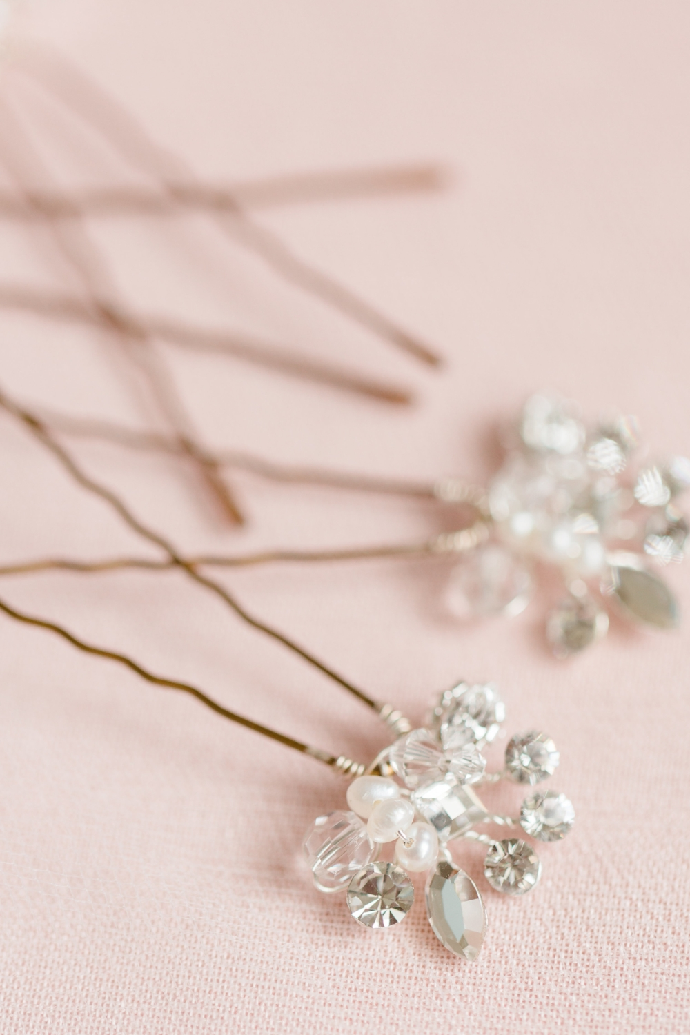 """Freshwater pearl and Swarovski crystal """"Cluster Hair Pins"""" by Headpiece.com."""