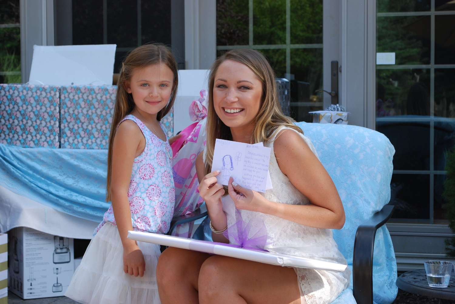 Abbey is Brielle's adorable flower girl. She was so delightful and helpful to the bride-to-be. She may also have a future in art as demonstrated with her beautiful illustration inside Brielle's shower card.
