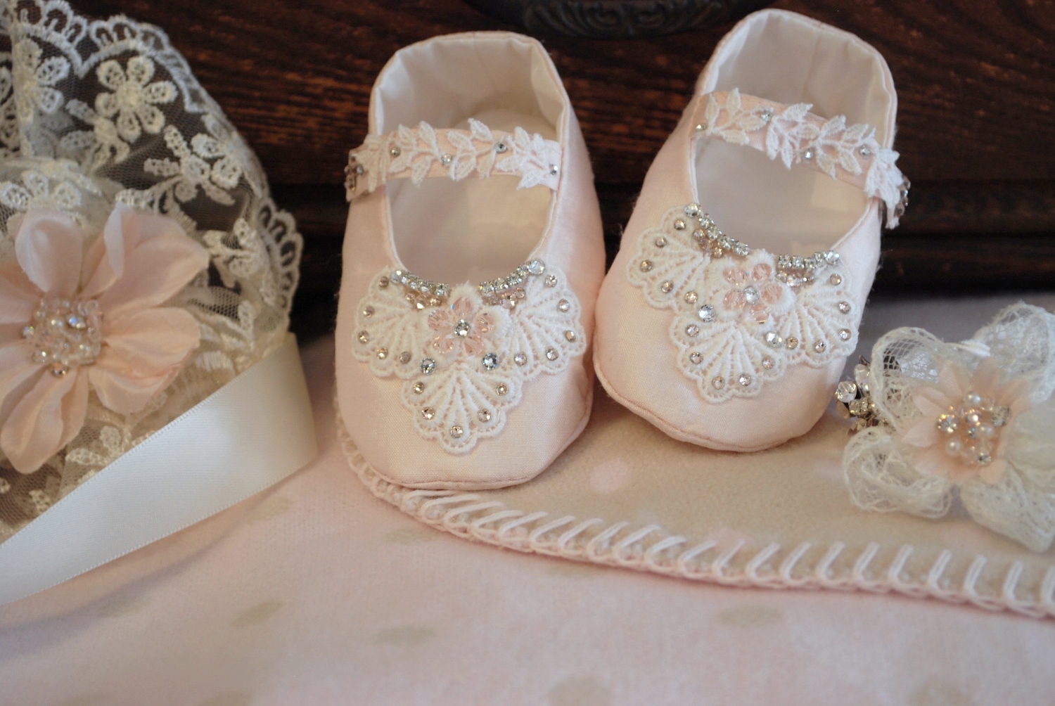 Pink Silk Christening Shoes