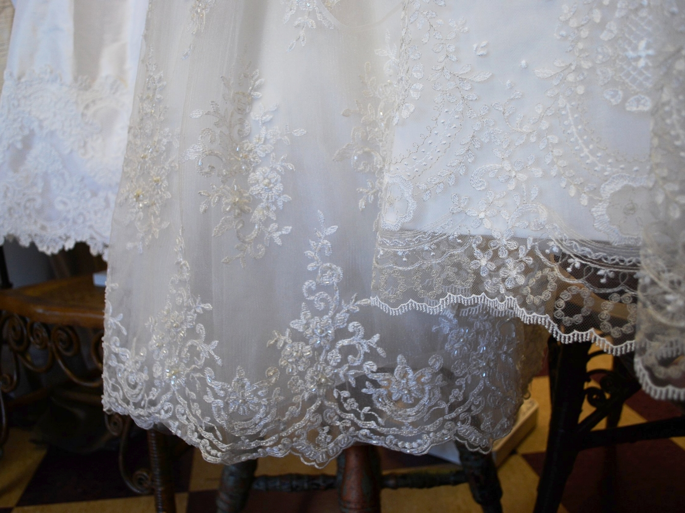 Embroidered Lace Christening Gowns