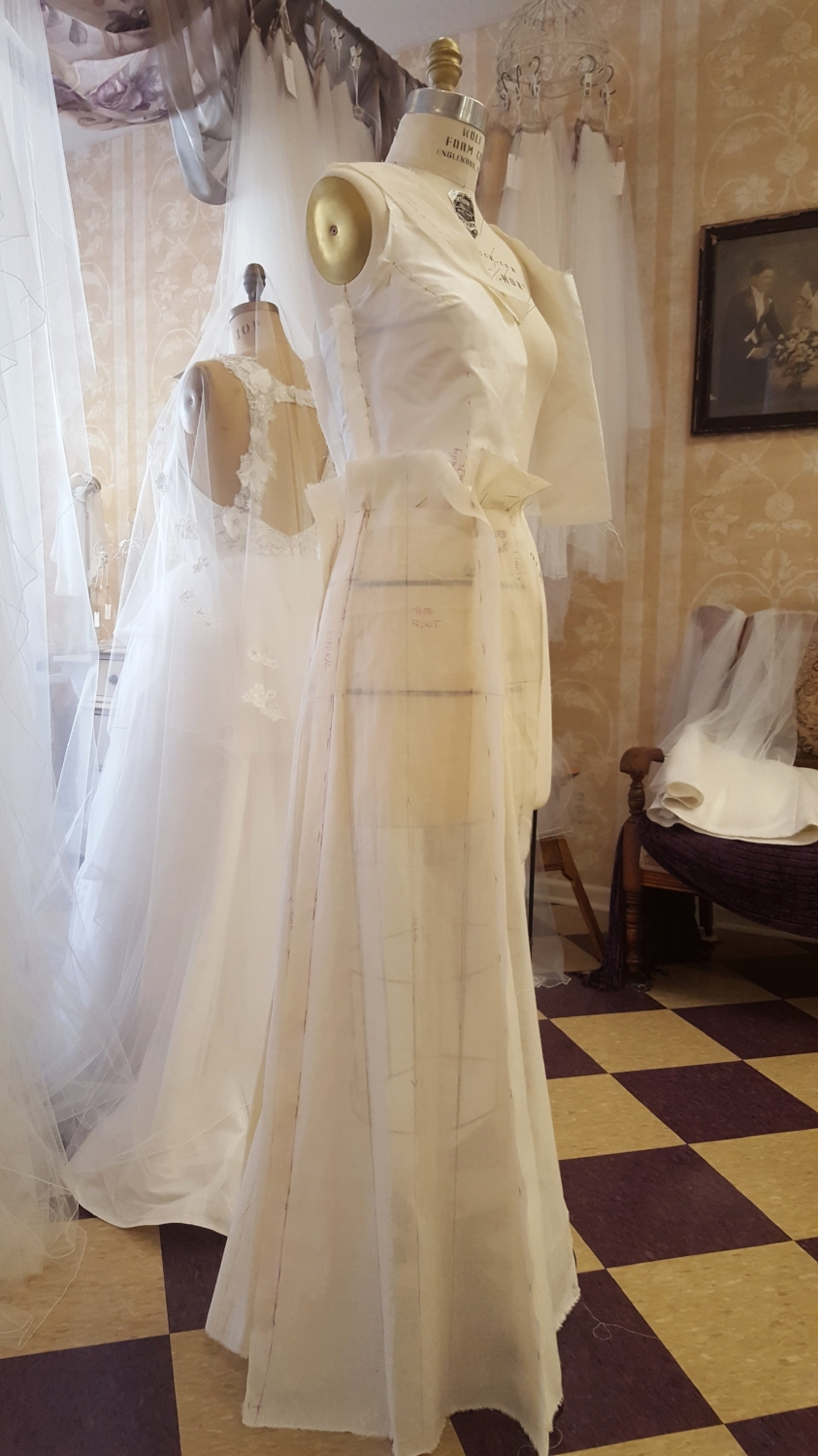 I began draping my dress design just two weeks before we had to leave for Richmond. My dress form was slightly bigger than me and I began to lose weight from non-stop everything. This was not a good equation!
