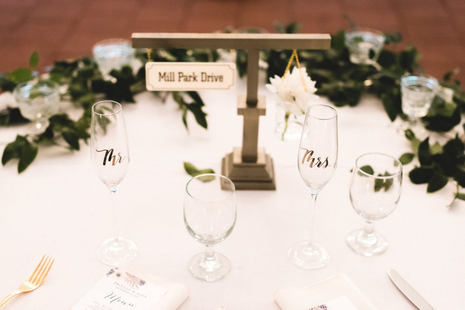 A special street sign was made for the bride and groom table.
