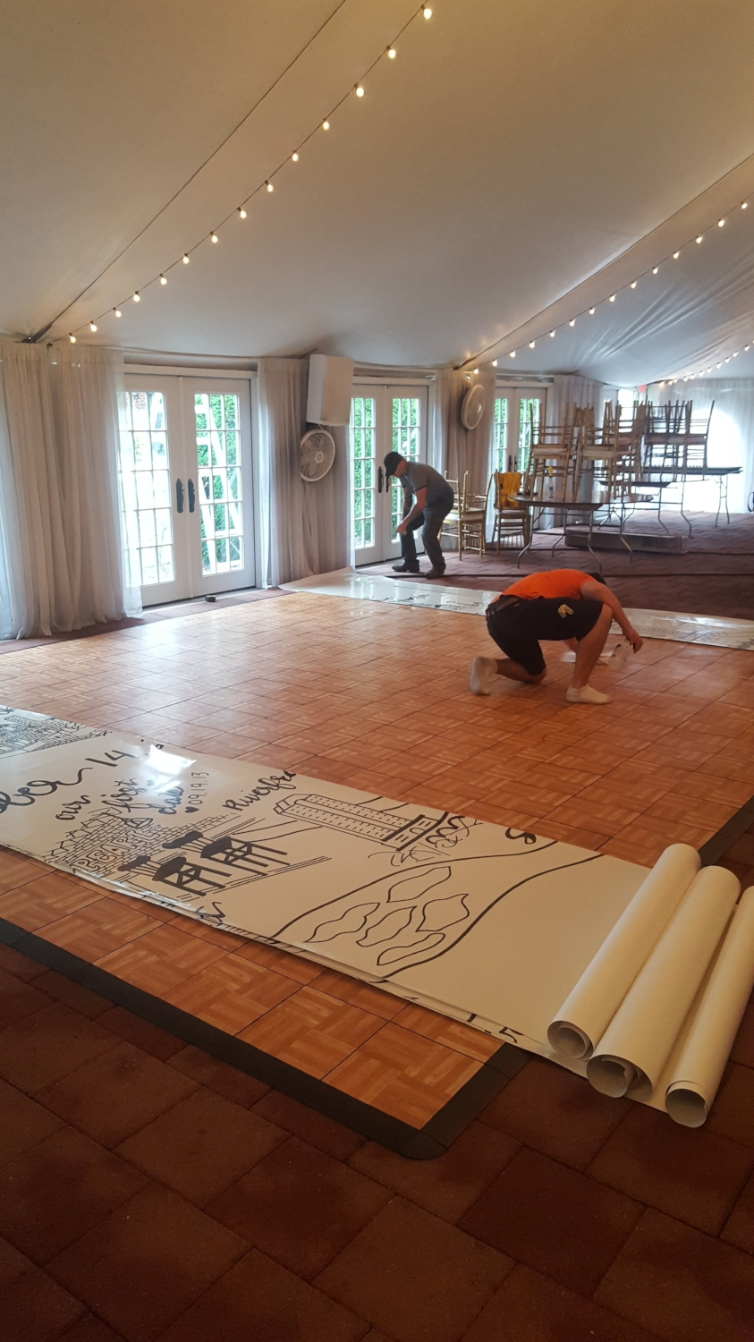 RVA Graphics and Wraps  laid the dance floor with precision. The transformation from parquet to art was night and day.