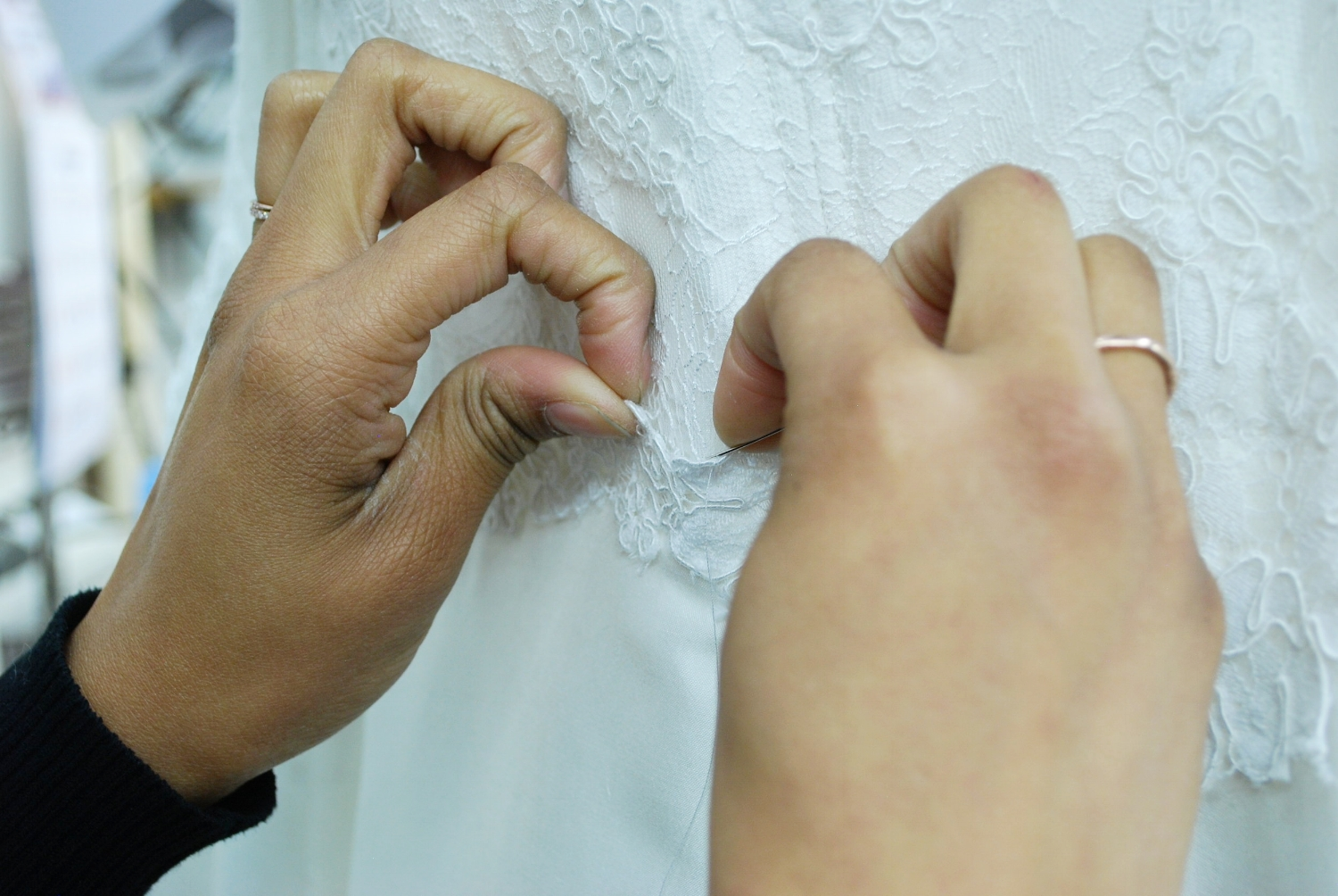 Hallak Cleaners provides couture services and repaired Brielle's wedding day imperfections and tears.