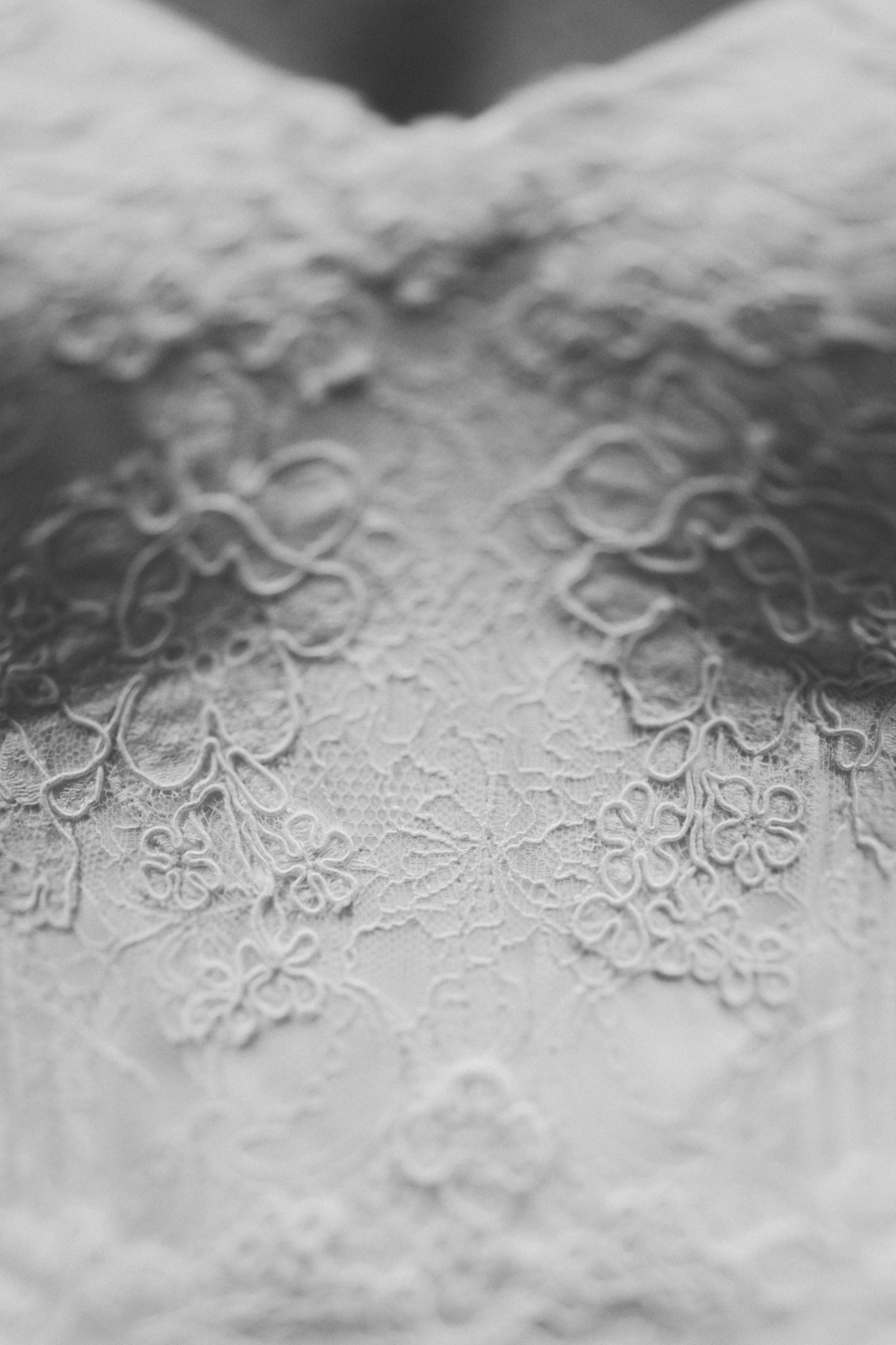 Lea-Ann used both Chantilly and Alençon lace to design the bodice of Brielle's wedding dress.